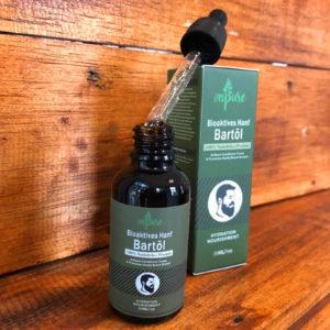 30ml onpure Hanf Bartöl - Flasche mit Pipette und Verpackung auf Holz